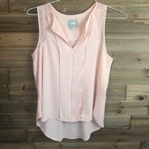 Sleeveless Blush Tunic with sheer sleeves Size 2